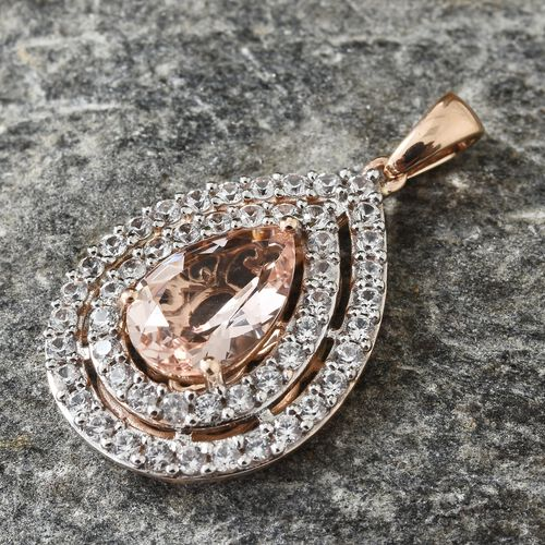 9K Rose Gold AAA Marropino Morganite (Pear 2.50 Ct), Natural Cambodian Zircon Drop Pendant 4.000 Ct.