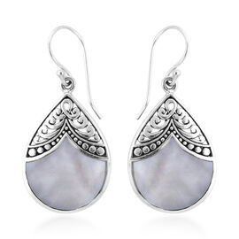 Royal Bali Collection Mother of Pearl Hook Earrings in Sterling Silver, Silver wt 3.40 Gms.