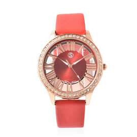 STRADA Japanese Movement White Austrian Crystal Studded Water Resistant Watch with Red Strap in Dual