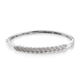Diamond (Bgt) Bangle (Size 7.5) in Platinum Overlay Sterling Silver   1.000 Ct, Silver wt 15.21 Gms, Number of Diamonds 203.