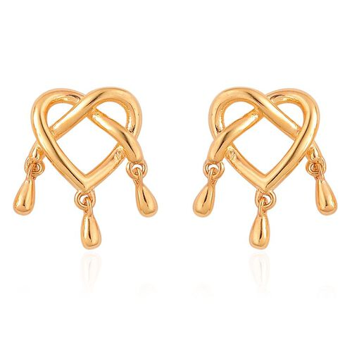 LucyQ Entwine Heart 3 Drip Silver Stud Earrings in Yellow Gold Overlay 3.78 Gms.