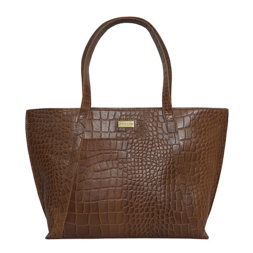 Monster Deal- Assots London AGNES Croc Embossed Genuine Leather Tote Bag with Zipper Closure (Size 3