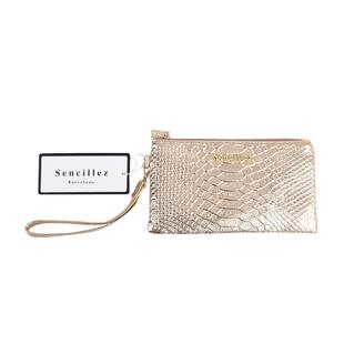 Sencillez 100% Genuine Leather RFID Snake-Skin Embossed Clutch Wallet in Gold Colour