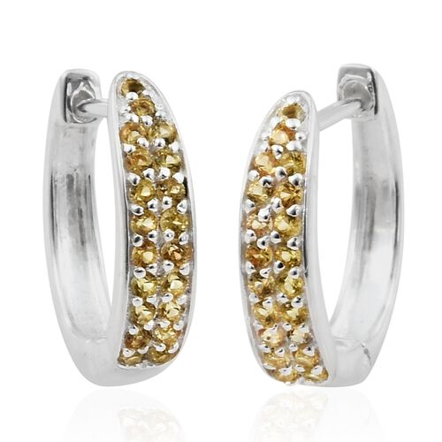 Chanthaburi Yellow Sapphire (Rnd) Hoop Earrings (with Clasp) in Sterling Silver 1.000 Ct.