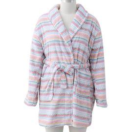 Jacquard Pink Plush Robe with Colorful Stripe Pattern