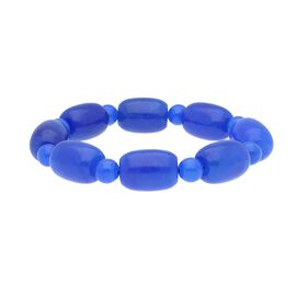 296 Ct Blue Jade Beaded Bracelet 7 Inch