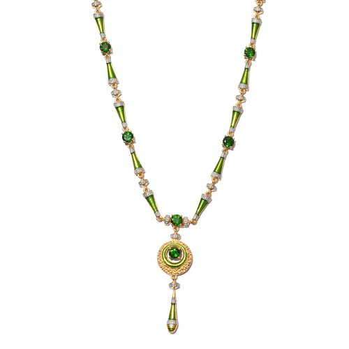 Russian Diopside Necklace (Size 18 with 2 inch Extender) in 14K Gold Overlay Sterling Silver 5.00 Ct
