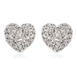 GP 9K Yellow Gold SGL Certified Diamond (I3/G-H) and Blue Sapphire Heart Stud Earrings (with Push Ba