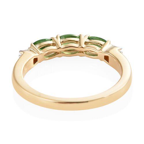 ILIANA - 18K Yellow Gold AAA Tsavorite Garnet (Ovl) Diamond (SI/G-H) Band Ring 0.800 Ct.
