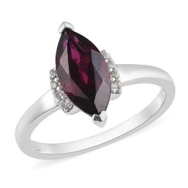 Rhodolite Garnet and Cambodian Zircon Marquise Ring in Platinum Overlay Sterling Silver 2.50 Ct.