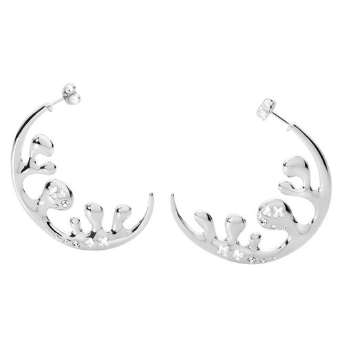 LucyQ White Crystal Studded Ocean Wave Earrings (with Push Back) in Platinum Overlay Sterling Silver 17.10 Gms.