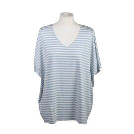 Misumi Super Soft Oversized V-Neck Stripe Short Sleeve Top in Light Blue (Size up to 18)