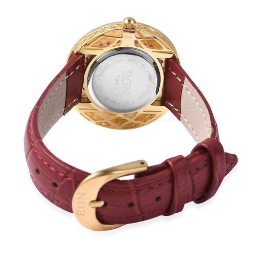 EON 1962 Swiss Movement African Ruby (Rnd), Black Ceramic Water Resistant Watch in Yellow Gold Plating with Red Leather Strap 13.92 Ct, Silver wt 17.00 Gms