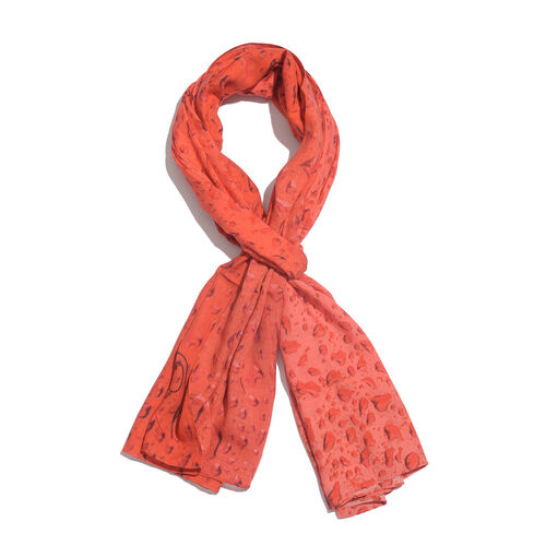 LucyQ Water Drops 100% Modal Digital Printed Red Colour Scarf (Size 180x70 Cm)