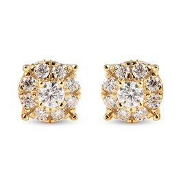 Moissanite Stud Earrings (with Push Back) in Yellow Gold Overlay Sterling Silver