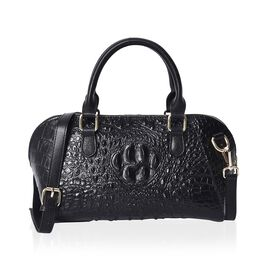 100% Genuine Leather Croc Embossed Tote Bag (Size 29x20x9.5 Cm)  - Black