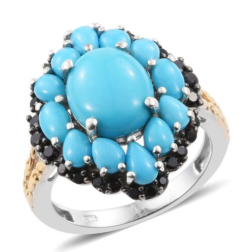 Arizona Sleeping Beauty Turquoise (Ovl 3.00 Ct), Boi Ploi Black Spinel Ring in Platinum and Yellow G