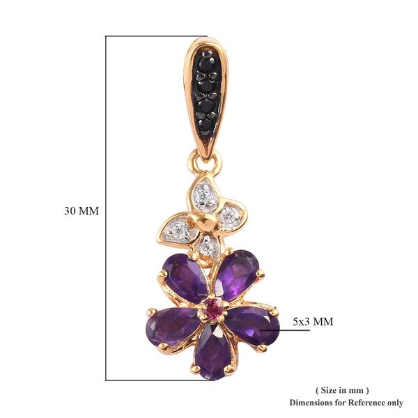 GP Amethyst (Pear), Rhodolite Garnet, Boi Ploi Black Spinel, Natural Cambodian Zircon and Blue Sapphire Floral Earrings (with Push Back) in 14K Gold Overlay Sterling Silver 2.250  Ct.