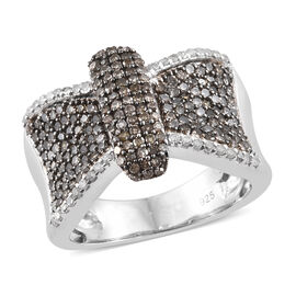 1 Carat Natural Champagne Diamond Bow Cluster Ring in Platinum Plated Sterling Silver 6 Grams