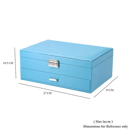Two-Layer Teal Blue Jewellery Box with Multiple Compartments and Lock & Key (Size 27x19x10.5cm)
