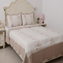 King Size Quilt with Embroidered Leaf and Flowers, White, Chocolate and Beige with 2 Pillow Shams (Size 240x260 + 2 X 50x75 cm)