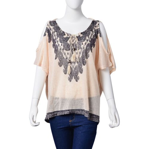 Black Colour Paisley Pattern Off White Colour Poncho with Tassels on Neck (Size 85X60 Cm)