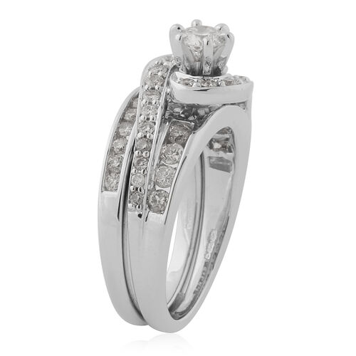 14K White Gold Natural White Diamond Ring 1.00 ct, Gold Wt. 9.10 Gms