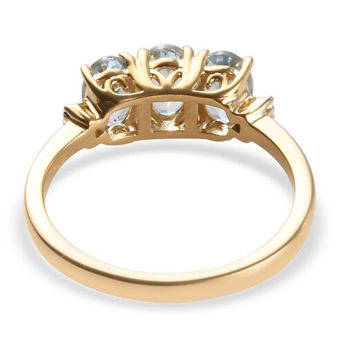 ILIANA 18K Yellow Gold AAA Espirito Santo Aquamarine (Ovl), Diamond (SI/G-H) Ring 1.41 Ct.