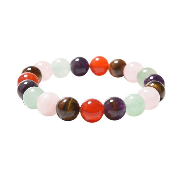 Multi Gemstone Beads Stretchable Bracelet (Size 6.5) 134.50 Ct.