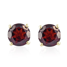 Mozambique Garnet (Rnd) Stud Earrings (with Push Back) in 14K Gold Overlay Sterling Silver 3.000 Ct.