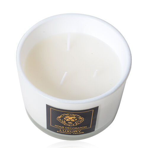 Home Decor - Aromatic Candle and Glass Container (Size 11x8 Cm) White Colour