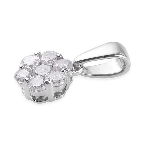 9K White Gold SGL Certified Diamond (I2-I3/G-H) Pendant 0.50 Ct.