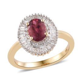 9K Yellow Gold AA Ouro Fino Rubelite (Ovl), Diamond Ring 1.100 Ct.