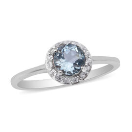 Santa Teresa Aquamarine and Natural Cambodian Zircon Ring in Rhodium Overlay Sterling Silver 1.01 Ct