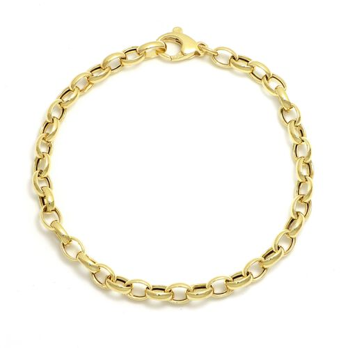 Viale Argento Yellow Gold Overlay Sterling Silver Oval Rolo Necklace (Size 20)