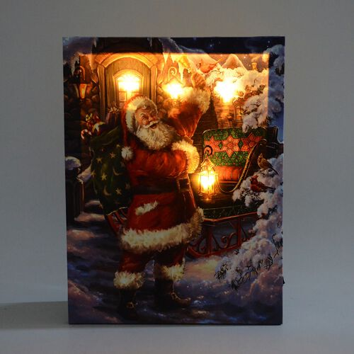Home Decor - 4 LED Light Framed Canvas Christmas Santa Delivering Gifts Theme Painting Wall Decor (Size 40x30 Cm)