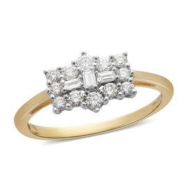 ILIANA 18K Yellow Gold IGI Certified Diamond (Rnd and Bgt) (SI/G-H) Boat Cluster Ring  0.508 Ct.