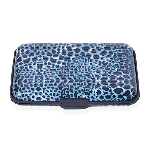 Set of 5 - RFID Blocker Blue, White and Multi Colour Leopard, Polka Dots and Floral Pattern Card Holder (Size 11X7X2 Cm)