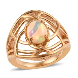 1 Carat Ethiopian Welo Opal Solitaire Ring in Gold Plated Sterling Silver