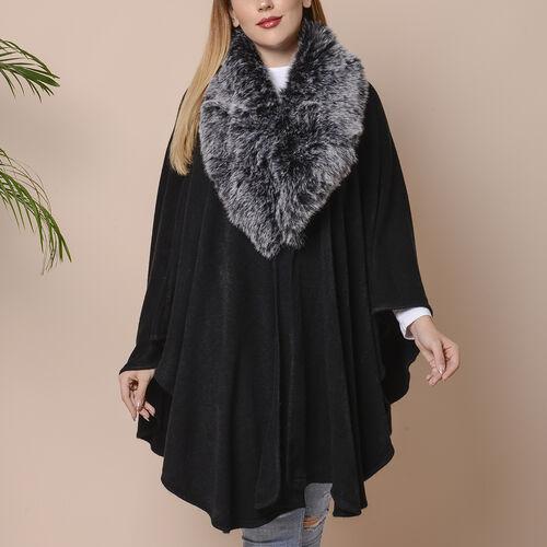 Half Moon Faux Fur Collar Cape (Size 124x76 Cm) - Black Colour
