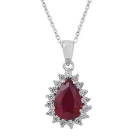 African Ruby (Pear 3.83 Ct), Natural Cambodian White Zircon Pendant With Chain in Rhodium Overlay Sterling Silver 4.500 Ct.