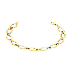 One Time Deal- Italian Made- 9K Yellow Gold Designer Link Bracelet (Size 7.5)