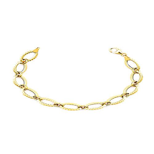 One Time Deal- Italian Made- 9K Yellow Gold Designer Link Bracelet (Size 7.5), Gold wt 3.20 Gms.
