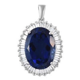 Ceylon Colour Quartz (Ovl 13.65 Ct), Natural Cambodian Zircon Pendant in Platinum Overlay Sterling S