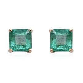 ILIANA 1.30 Ct AAA Zambian Emerald Asscher Cut Solitaire Stud Earrings in 18K Gold