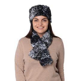 2 Piece Set - Leopard Pattern Faux Fur Winter Scarf (Size 11.5x92 Cm) and Cossack Hat (Size 58 Cm) -