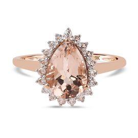9K Rose Gold AA Marropino Morganite and Natural Cambodian Zircon Ring 2.35 Ct.