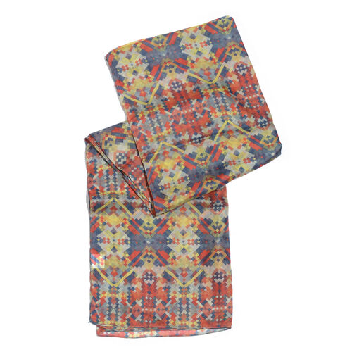 100% Mulberry Silk Red, Blue and Multi Colour Geometric Pattern HD Printed Scarf (Size 180x100 Cm)
