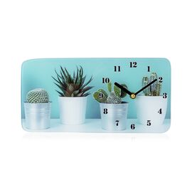 Glass Table Clock  - Cactus (Size 30x15x4 Cm)