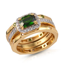 3 Piece Set - Russian Diopside and Natural Cambodian Zircon Ring in 14K Gold Overlay Sterling Silver
